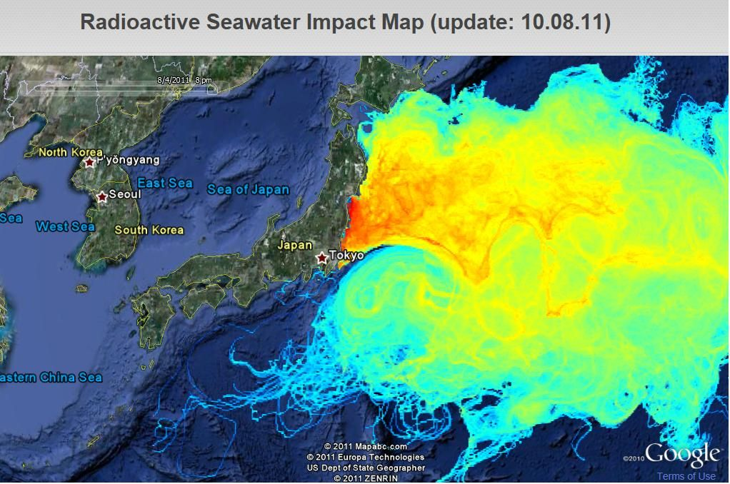 Oct Fukushima Radiation And Fallout Projections - Us radiation levels map